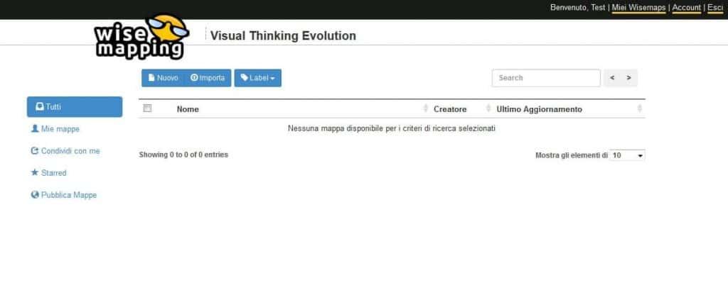wisemapping - schermata principale