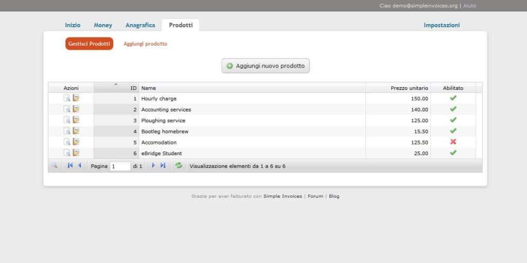 Prodotti Simple Invoices